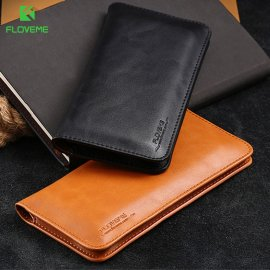 Universal case with genuine leather wallet eg for iPhone X 8 7 6 6S Plus, Samsung Galaxy Note 8 S8 Plus S7 S6