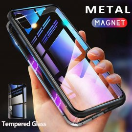 Magnetické pouzdro pro Samsung Galaxy S8 S9 Plus Note 8 S7 Edge Note 9 Tempered Glass, 360 stupnu ochrana
