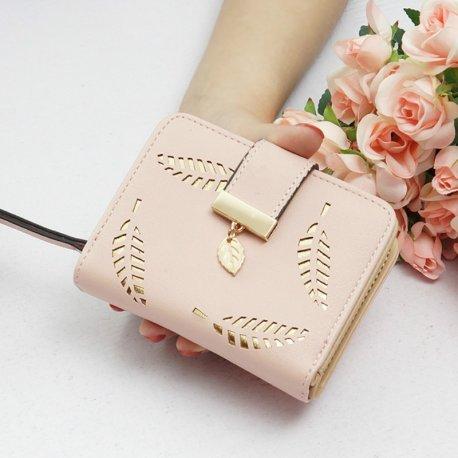 New Women Wallets Short Wallet Ladies Zipper Buckle Hollow Leaf Purse Wallet Female Women Zipper Purse Card Holder Cartera Mujer