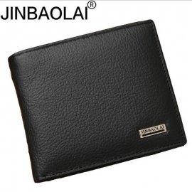 100% Genuine Leather Mens Wallet Premium Product Real Cowhide Wallets for Man Short Black Walet Portefeuille Homme Short Purses