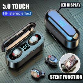 Bezdrátová HiFi sluchátka s nabíjecí stanicí a LED displejem, reagují na dotyk, BT 5.0, powerbanka, stojánek /Poštovné ZDARMA!