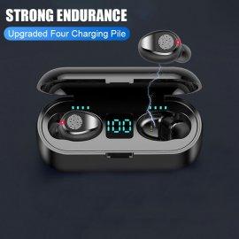 Bezdrátová HiFi sluchátka s nabíjecí stanicí a LED displejem, reagují na dotyk, BT 5.0