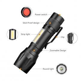 COB LED Mini supersvítivá zoomovací svítilna, aluminium, 4 mody - za SUPER cenu! /Poštovné ZDARMA!