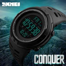 Pánske digitálky SKMEI Conquer, podsvietenie, 50M vodotesné, alarm, stopky, dátum, 2 časy