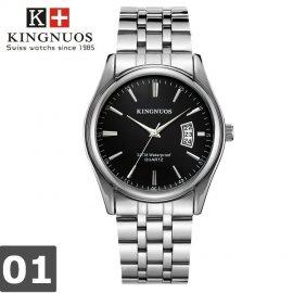 Luxusní hodinky Kingnouos, datumovka, vodotěsné, nerez ocel / kůže /Poštovné ZDARMA!