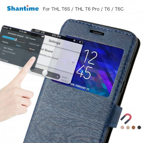 Case for THL T6 T6S T6C T6 PRO, View Window, PU leather