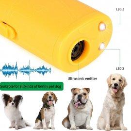 Odpuzovač psů 3v1, ultrazvukový, pro odnaučení štěkání, tréning psů, LED svítilna