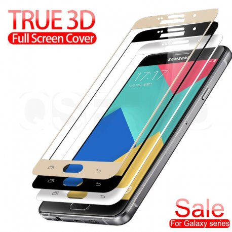 Tvrzené sklo pro Samsung Galaxy A3 A5 A7 J3 J5 J7 2016 2017 S7, Tempered glass 9h, úplné pokrytí displeje