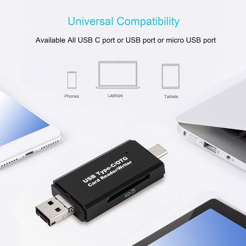 USB-C Type C OTG Function Gotd USB 3.0 Flash Memory Card Reader Micro USB SD//TF//MMC,,Type-c//SD Card slot//TF Card slot//Micro USB Male and USB 3.0 2in1 Connector Support Mobile Phone Tablet