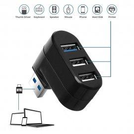 Otočný USB HUB, 1x USB 3.0 2x USB 2.0 / Poštovné ZADARMO!
