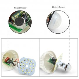 LED žárovka, ovládána zvukem! 220V E27 7W 420LM LED Light Control Sound Control Globe Bulb LED Light Bulbs - Natural White