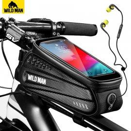 """WILD MAN Vodeodolné púzdro na trúbku bicykla, kapsička pre telefón až do 6.5 """", reflexné"""