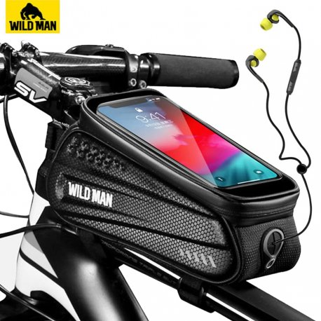 """WILD MAN Waterproof case for bicycle tube, pocket for phone up to 6.5 """", reflective"""