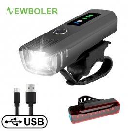NEWBOLER Bicycle light, Intelligent switching, COB LED, IPX5, USB charging, 4 modes