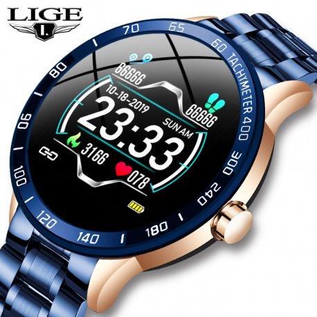 LIGE smart watch, waterproof IP67, steel strap, heartbeat, sleep monitor, notifications, etc. / FREE shipping!