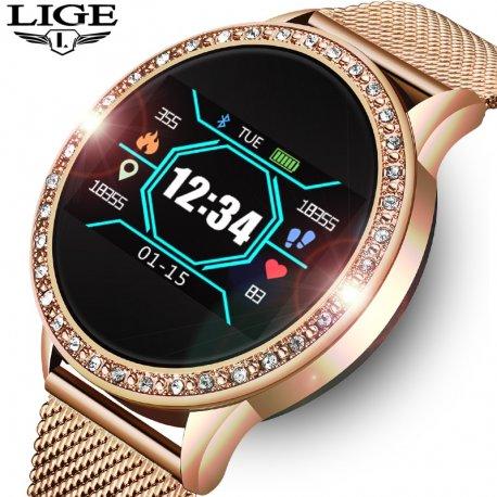 Women's smart watch LIGE, waterproof IP67, steel strap, heartbeat, sleep monitor, notifications, etc. /FREE shipping!