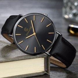 Ultra tenké pánské hodinky, kožený řemínek, quartz, analog /Poštovné ZDARMA!