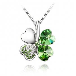 Austrian Crystal 4 four Leaf Leaves Clover pendant necklaces quality fashion jewelry free drop shipping charms women accessories