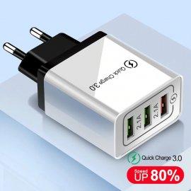QC3.0 Rychlo Nabíječka 3xUSB 5V 3A EU AC univerzální pro mobilní telefony, Android a další zařízení