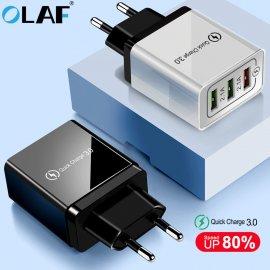 QC3.0 Rýchlo Nabíjačka 3xUSB 5V 4.8A EÚ AC univerzálny pre mobilné telefóny, Android a ďalšie zariadenia