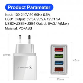 USB fast charger 4xUSB 3.1A QC 3.0 / FREE Shipping!
