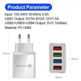 USB rychlo nabíječka 4xUSB 3.1A QC 3.0 /Poštovné ZDARMA!