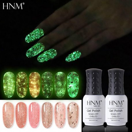 HNM Luminous Rose Gold Nail Gel Polish Night Glow In Dark Fluorescent Vernis Lacquer Soak Off Varnishes UV LED Semi Permanent