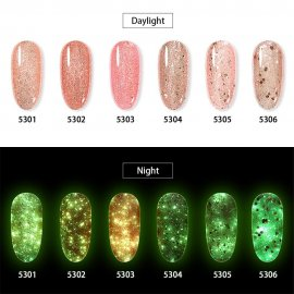 HNM Luminous Rose Gold Nail Gel Polish Night Glow In Dark Fluorescent Vernis Lacquer Soak Off Varnishes UV LED Semi Permanent