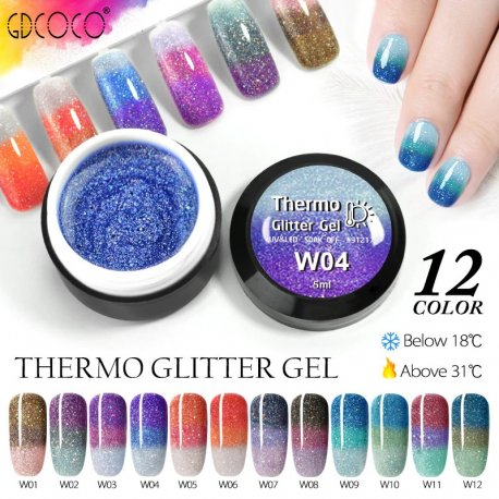 GDCOCO Temperature Change Glitter Color Gel Polish Cool Thermal Magic Effect Nail Varnish Gel Soak off UV LED Gel Lacquer