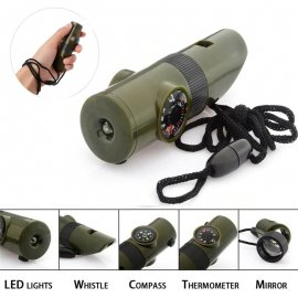 Whistle ABS 7-in-1, multifunctional, thermometer, compass, magnifier, mirror, LED flashlight, outdoor, survival,