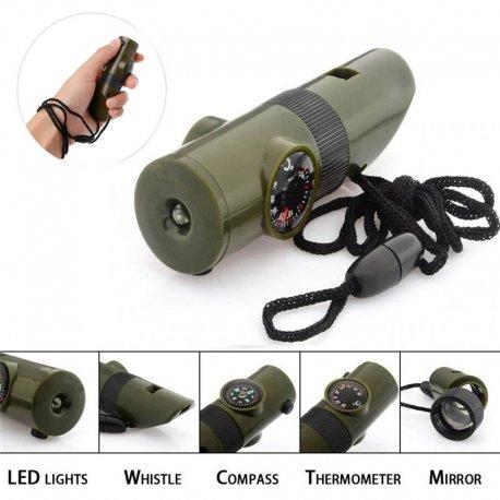 Píšťalka ABS 7-v-1, multifunkční, teploměr, kompas, lupa, zrcátko, LED svítilna, outdoor, survival, armádní kamufláž