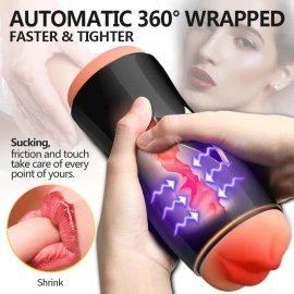 Masturbator Leten 3, 2x vibrační motor, 10 modů, přísavka - handsfree, umělá vagína, jemný silikon