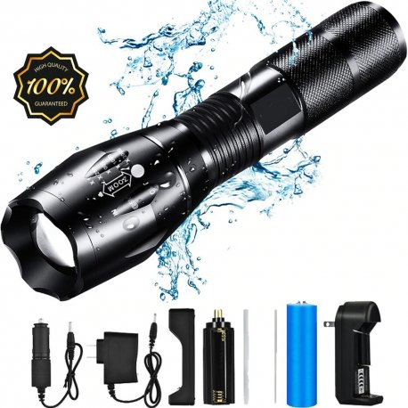 Zoom Flashlight 5 mods, T6 8000lm cold white, aluminum / Shipping HELLO!