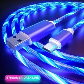 LED svítící kabel pro telefony Micro USB/USB-C/iPhone, nabíjecí / data, univerzální /Poštovné ZDARMA!