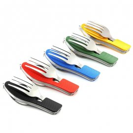 Multifunctional cutlery 4in1 stainless steel + aluminum, spoon, knife, fork, outdoor camping survival / FREE Shipping '