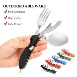Multifunkčný príbor 4v1 nerez oceľ + aluminium, lyžička, nôž, vidlička, outdoor camping survival / Poštovné ZADARMO '