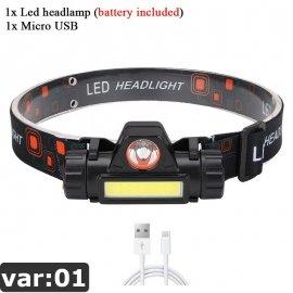 LED čelovka Q5+COB s magnetem, USB nabíjení /Poštovné ZDARMA!