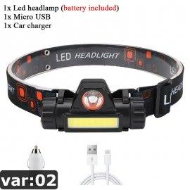 LED čelovka Q5 + COB s magnetom, USB nabíjanie / Poštovné ZADARMO!