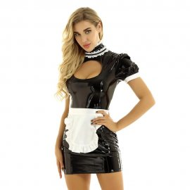Womens Ladies French body latex Maid Dress Cosplay Costume Wetlook Clubwear Puff Sleeves Breast Bodycon Mini Dress with Apron