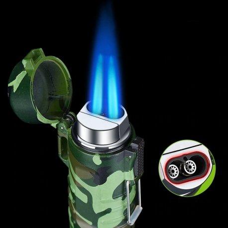 Outdoor Camping Vetru a vodeodolný kovový JET Turbo zapaľovač + LED svietidlo / Poštovné ZADARMO!