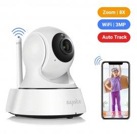 Bezpečnostní IP kamera SANNCE 2K, Wi-fi, 3MP, IR noční vidění, otočná, detekce pohybu/zvuku, obousměrné audio, Baby Monitor