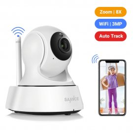 Security IP camera SANNCE, Wi-fi, 720P, IR night vision, swivel, motion / sound detection, bidirectional audio, Baby Monitor