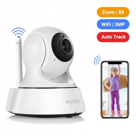 Bezpečnostní IP kamera SANNCE, Wi-fi, 720P, IR noční vidění, otočná, detekce pohybu/zvuku, obousměrné audio, Baby Monitor