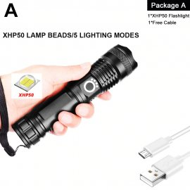Ultra bright LED flashlight XHP50 XPH70 XPH90, USB charging, waterproof / FREE shipping!