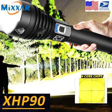 Ultra bright LED flashlight XHP50 XPH70 XPH90, USB charging, waterproof / FREE shipping!