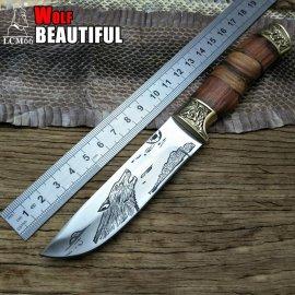 Kvalitný lovecký nôž LCM66 24.5cm + puzdro, drevená rukoväť, veľmi ostrý, outdoor camping / Poštovné ZADARMO!
