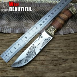 Quality hunting knife LCM66 23.5cm, wooden handle, outdoor camping / FREE Shipping!