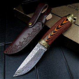 Kvalitní lovecký nůž Damascénská ocel 21cm + kožené pouzdro, dřevěná rukojeť, velmi ostrý /Poštovné ZDARMA!