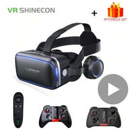 """3D Okuliare pre virtuálnu realitu VR Shinecon 6.0, Google Headset, pre telefóny až do 6 """"+ ovládač BT"""
