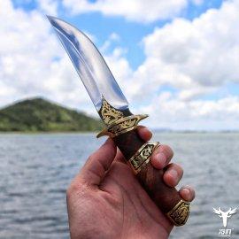 Nádherný lovecký nôž LENGREN 24cm + kožené puzdro, drevená rukoväť, veľmi ostrý / Poštovné ZADARMO!